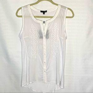 RXB Women's Sleeveless White Cotton Top
